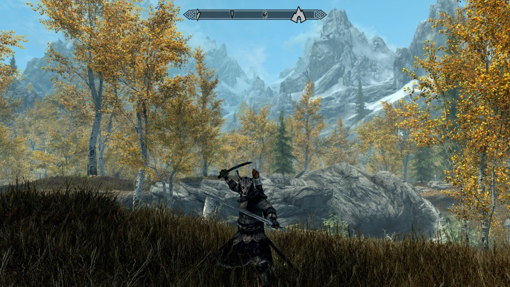 Kajit standing with double swords with trees and mountains in background