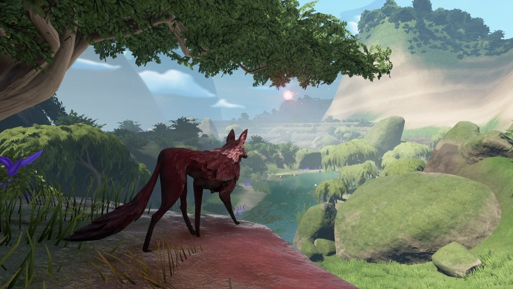 the lost ember video game with black wolf in foreground and green river in the background