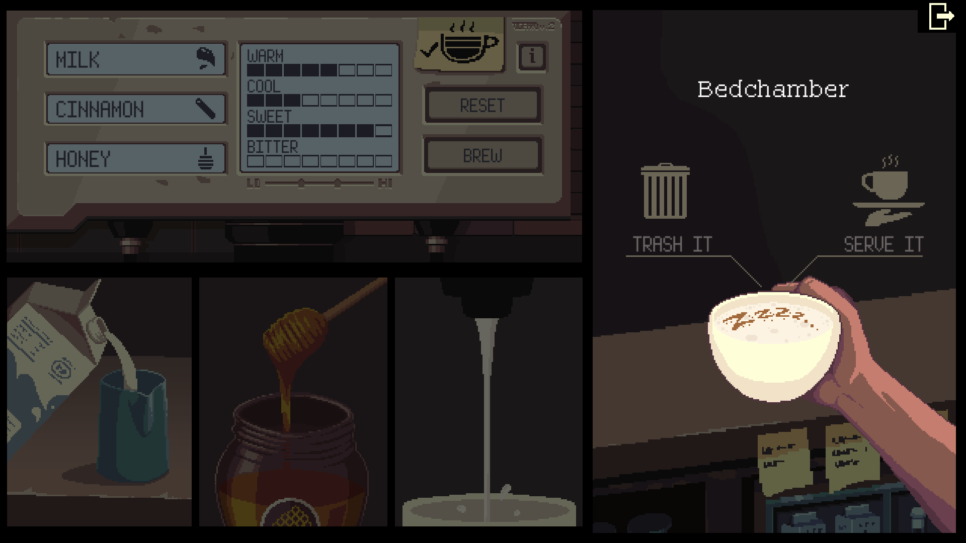 Bedchamber recipe is milk, cinnamon and honey on the Coffee Talk video game.