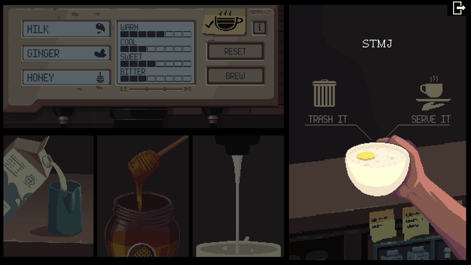 STML recipe is milk, ginger and honey on the Coffee Talk video game.