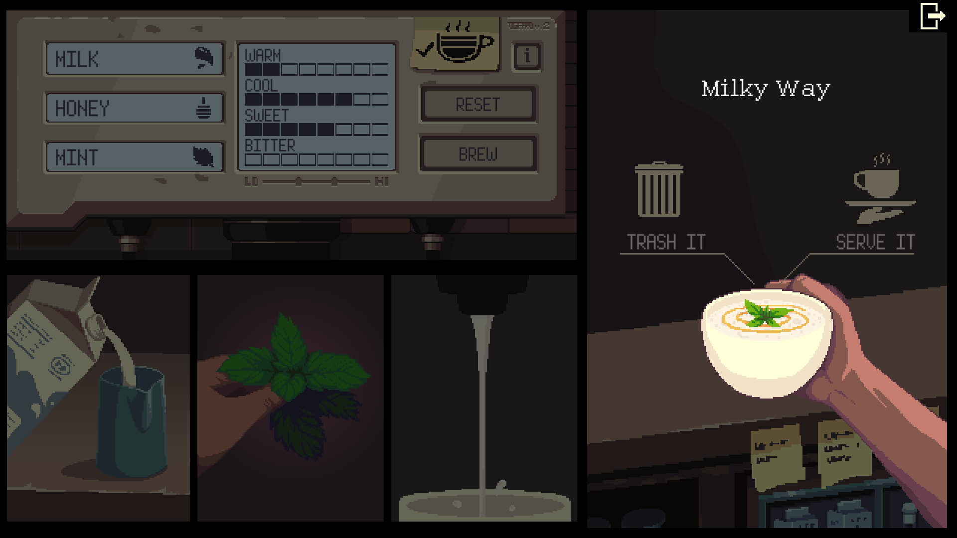 Milky Way recipe is milk, honey and mint on the Coffee Talk video game.